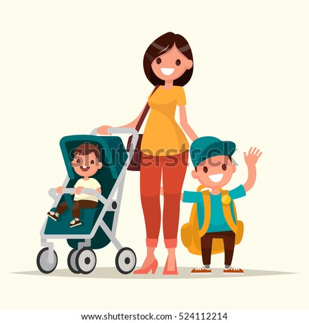 Young mother with a baby in a stroller and a son schoolboy. Vector illustration in a flat style