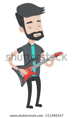 Young musician playing electric guitar. Hipster man with beard practicing in playing guitar. Guitarist with his eyes closed playing guitar. Vector flat design illustration isolated on white background