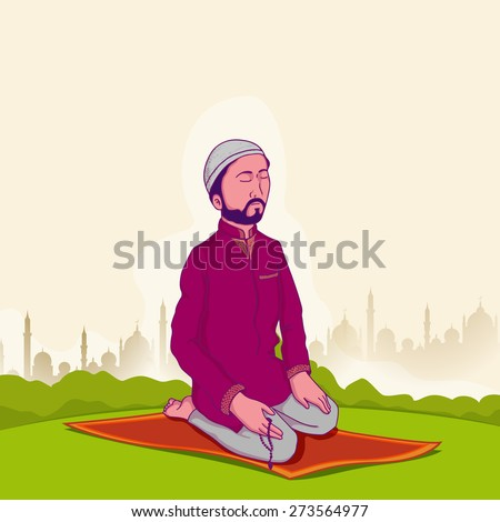 Young Muslim man holding rosary and praying reading Namaz Islamic Prayer on Mosque silhouette background for holy month Ramadan Kareem celebration