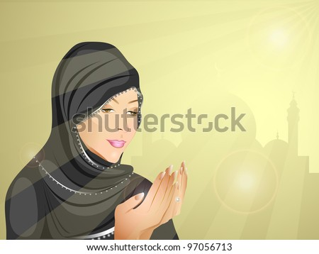 Young Muslim woman in hijab doing prayer, eps 10. Vector illustration.