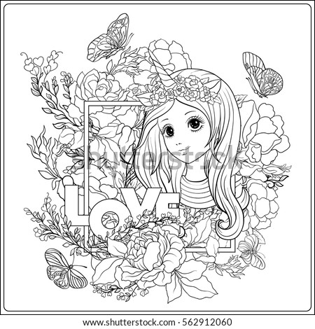 Cute Girl And Unicorn In Roses Garden Outline Drawing Coloring Page