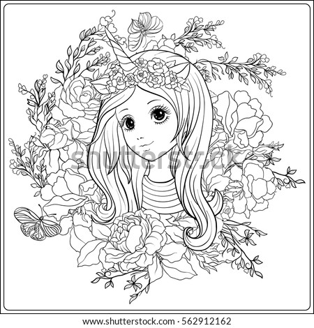 Royalty Free Cute Girl And Unicorn In Roses Garden 562912078