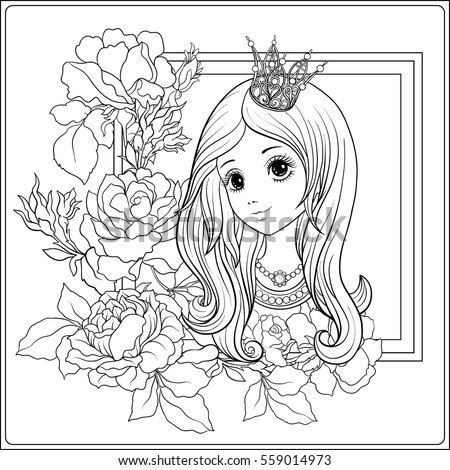Young Nice Girl In Princess Crown The Garden Of Roses Outline Drawing Coloring Page
