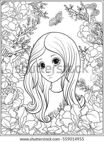 Young nice girl with long hear in the garden of roses.