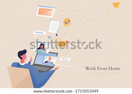 Young office worker is doing online meeting with his team through video call, concept of work from home in flat design