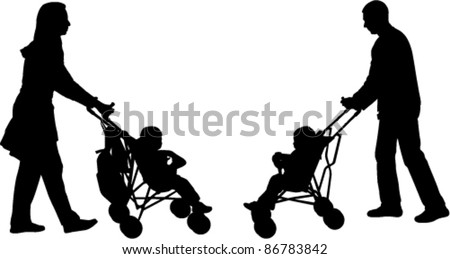 young parents pushing strollers
