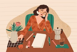 Young pensive woman sitting at desk with clean sheet of paper in front of her. Concept of writer's block, fear of blank slate, creativity crisis, work start problem. Flat cartoon vector illustration.