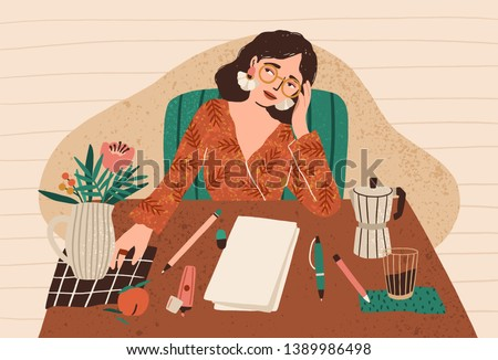 young pensive woman sitting at