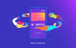 Young people are flying around a big smartphone and using their phones for banking and online sending money from credit card via e-wallet app. Gradient concept vector illustration of mobile banking