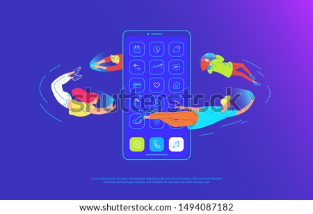 Young people are flying around of big smartphone and using their own smart phones for reading news and chatting to friends. Gradient concept vector illustration of usability of mobile phone and apps