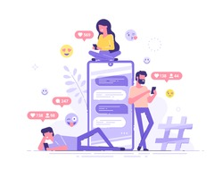 Young people are standing near by a huge smartphone and using own smartphones with social media elements and emoji icons on the background. Friends chatting and texting. Vector illustration.