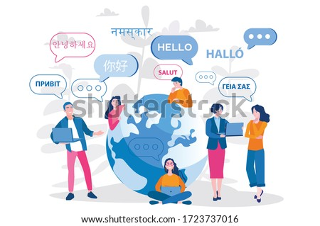Young people chatting in foreign languages. Vector illustration for web banner, infographics, mobile. Male and female cartoon characters speaking different languages. Foto stock ©