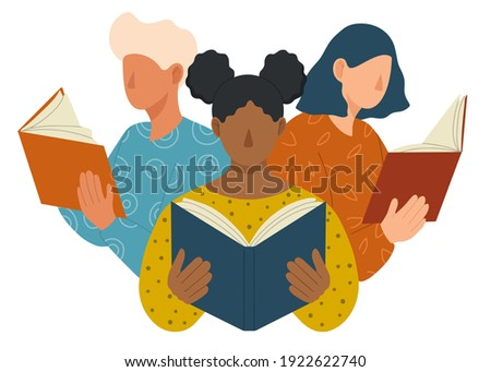Young people different nationalities and cultures reading books. Book lovers, fans of literature. Concept of Book Week or World Book Day. Flat vector illustration isolated on white background.