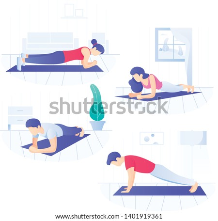 Young people doing plank core workout, working on abdominal muscles