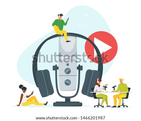 Young people in headset listening to music flat vector illustration. Youth in radio studio recording podcast cartoon characters. Sound recording equipment, microphone, headset isolated design element