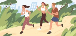 Young people jogging in city park in summer. Group of runners running along path, training outdoors. Active and healthy lifestyle of male and female joggers. Colored flat vector illustration