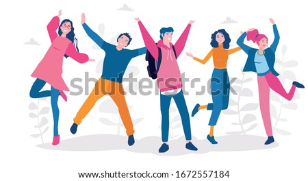 Young people jumping . Stylish happy male and female teenagers. Vector illustration for web banner, infographics, mobile. Enjoy your life Сток-фото ©