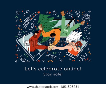 Young people of different races celebrate Christmas and New year online. Friends meeting via internet using phone, tablet, desktop; celebrating holidays together, drinking champagne, exchanging gifts