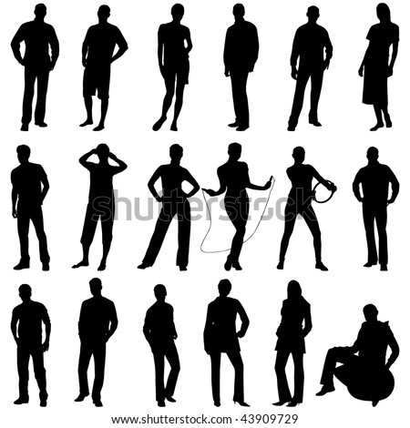 Young people silhouettes