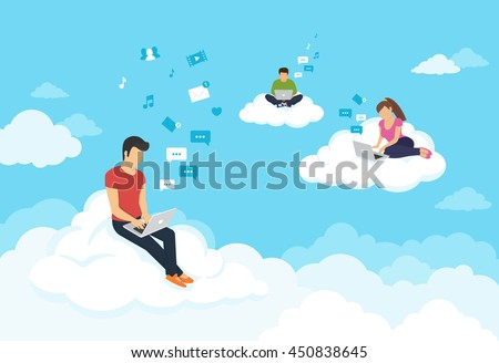 stock-vector-young-people-sitting-on-the-clouds-in-the-sky-using-laptop-and-typing-messages-to-friends-flat