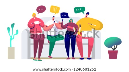Young people sitting on the couch and writing messages in chat using smartphone, computer, laptop. Friends chat via mobile phone, texting via messenger app and sending sms. Vector illustration