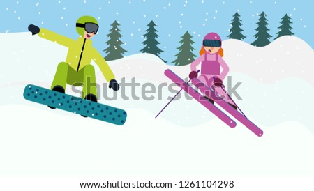 3497b2d5cc Flat Woman Skier in Action Vector Illustration - Download Free ...