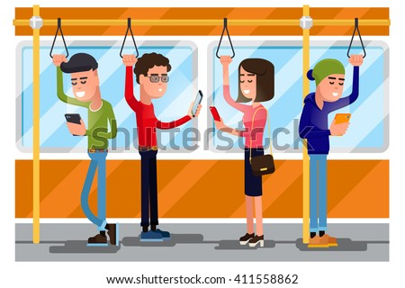 Young people using smartphone socializing in public transport in train. Concept background. Vector illustration