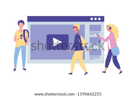young people using smartphone website video player