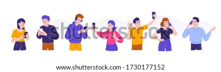 Young people using smartphones concept. Men and women talking, typing, chatting, listening music and taking selfies with phones. Female and male characters collection or set. Flat vector illustration