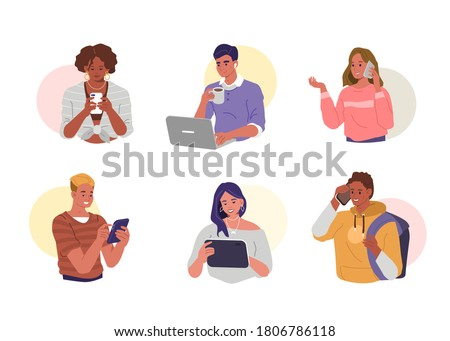 Young People using Smartphones, Laptops and Tablets for Chatting and Conversation. Happy Boys and Girls talking and typing on Phone. Female and Male Characters set. Flat Cartoon Vector Illustration.