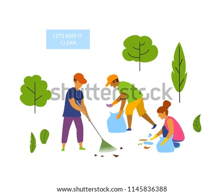 young people volunteers cleaning up the park isolated vector graphic scene