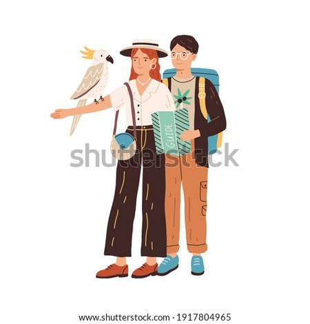 Young people watching cockatoo bird. Couple of tourists looking at parrot sitting on hand of woman. Man and woman exploring Australian fauna. Flat vector illustration isolated on white background. ストックフォト ©