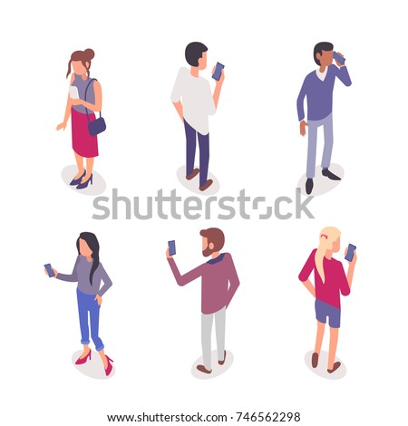 Young people with smartphones. Flat isometric illustrations isolated on white background.