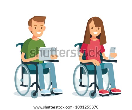 Young people with wheelchairs and gadgets