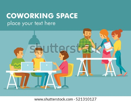 Young people working in co working office