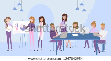 Young people working together. Co-working space. Working together in the company, brainstorming, manager at remote work, searching for new ideas solutions. Editable vector illustration