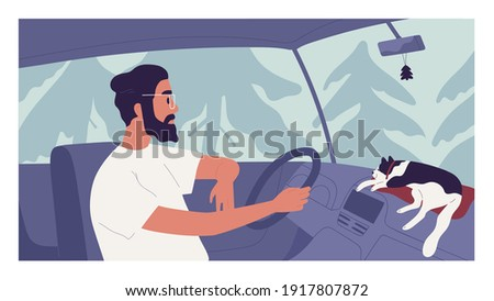 Young person driving car with happy cat lying on dashboard. Man traveling together with pet. Auto driver enjoying trip on holiday. Colored flat cartoon vector illustration.