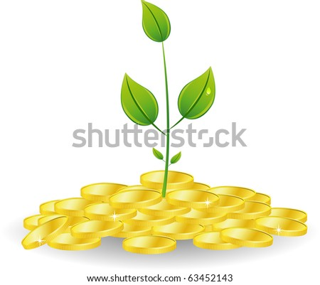 Young plant with golden coins, Isolated On White - stock vector