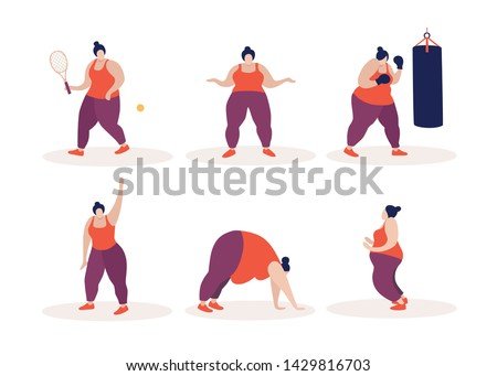 Young plump woman goes in for various sports to lose weight. Overweight problems. Vector flat illustration on white isolated background.