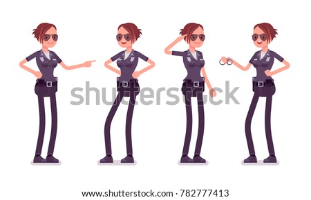 Young policewoman, female member of a police force happy to carry out duties, physically fit, professional skill set. Vector flat style cartoon illustration isolated on white background