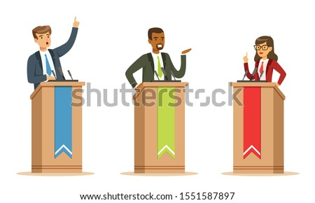 Young Politician Male And Female Speakers Behind Rostrum In Debates Vector Illustration Set Isolated On White Background Stock photo ©