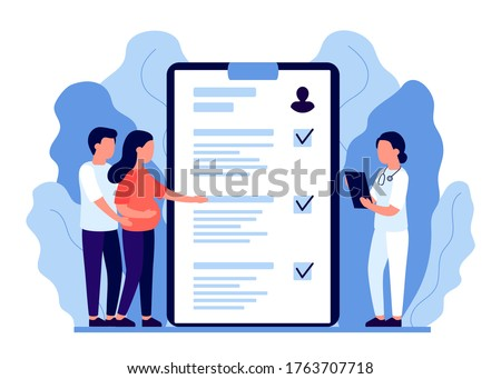 Young pregnant woman and man, family at consultation with doctor. Pregnancy health monitoring. In vitro fertalization. Expectant mother and father, motherhood and fatherhood, mother and father. Vector Stock photo ©
