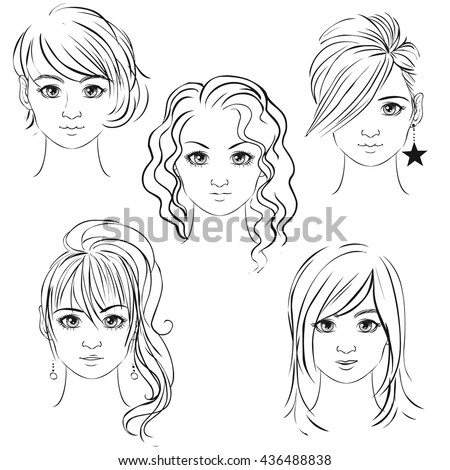 young pretty girls hand drawn