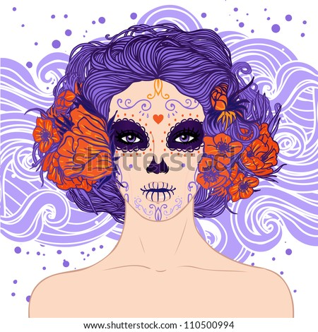 Young pretty Mexican Sugar Skull girl y with flowers in her hair and scary makeup for Day of the Dead (Dia de los Muertos) or Halloween .