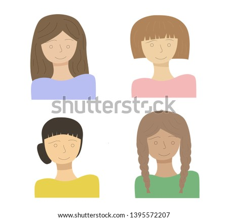 Young pretty women, pretty faces with different hairstyles, flat style. Vector illustration.