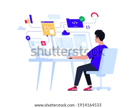Young programmer concentrated at working project. Developing programming and coding technologies. Screen with codes, developer at work with task. Geek coding software with laptop and pc. Isolated.