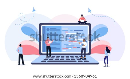 Young programmers coding a new project sitting on big laptop with command line. Flat vector illustration of young programmer using programmimg skills. Laptop screen with program code