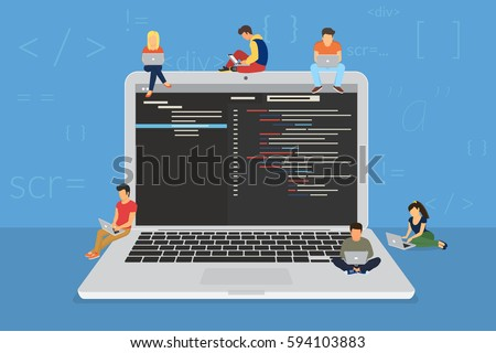 Young programmers coding a new project sitting on big laptop with command line. Flat vector illustration of young programmer coding a new project using programmimg skills and working as system admin #594103883