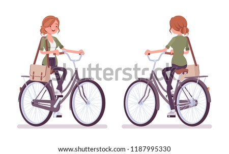 young red haired woman riding a