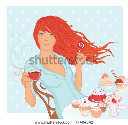 Young redhead beautiful woman holding a cup of tea and lollipop in her hands. Different sweets are on the table. Vector illustration.